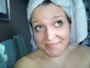 Seriously. My morning is: A) shower, B) HIDE THOSE BLOND EYELASHES ASAP